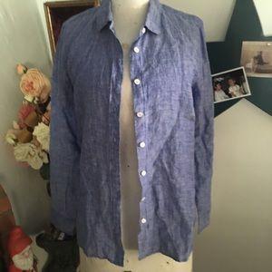 J-Crew Linen Button Up Blouse Shirt